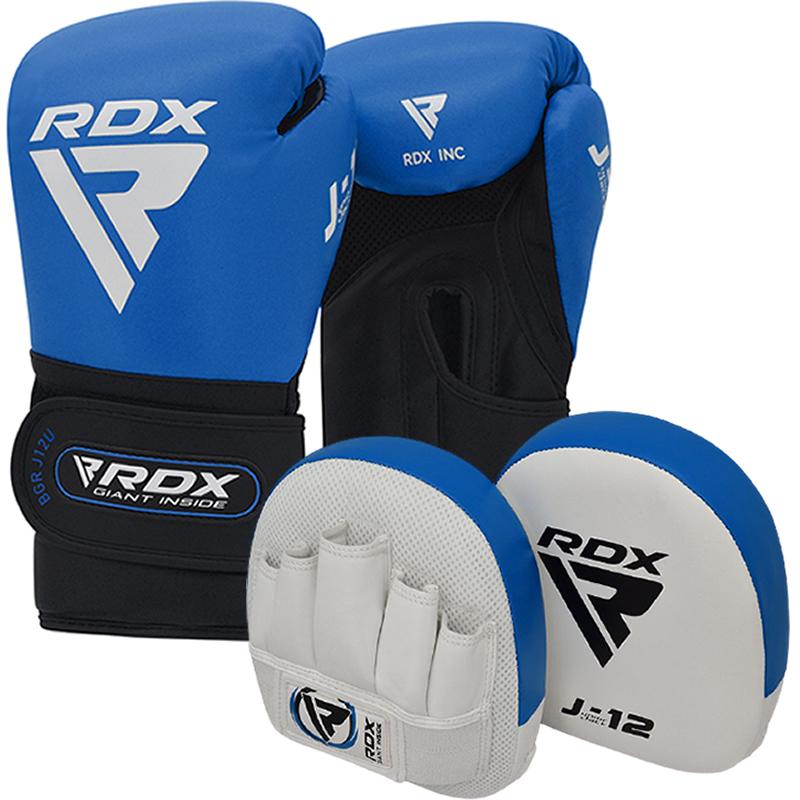 RDX J12 KIDS 6oz Boxhandschuhe and Boxpratzen Set Blau