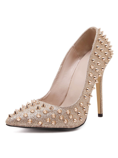 Milanoo Gold High Heels Glitter Pointed Toe Rivets Slip On Pumps Women Sexy Shoes