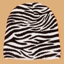 Men Zebra Striped Pattern Knit Beanie