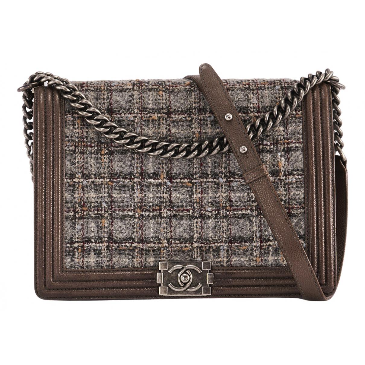 Chanel Boy Handtasche in  Braun Tweed