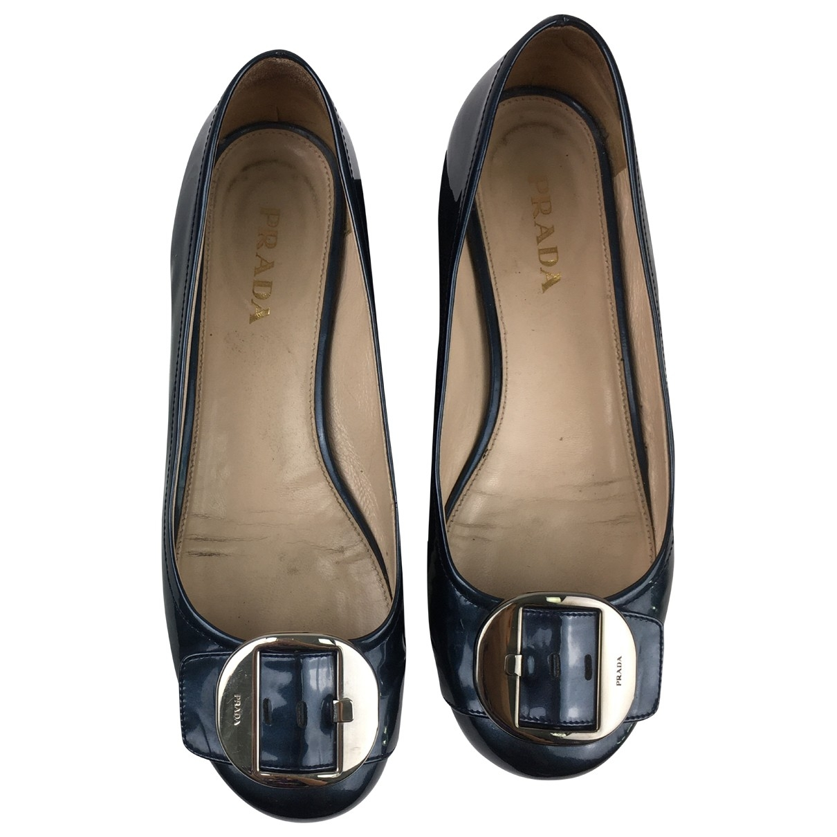 Prada \N Ballerinas in  Blau Lackleder
