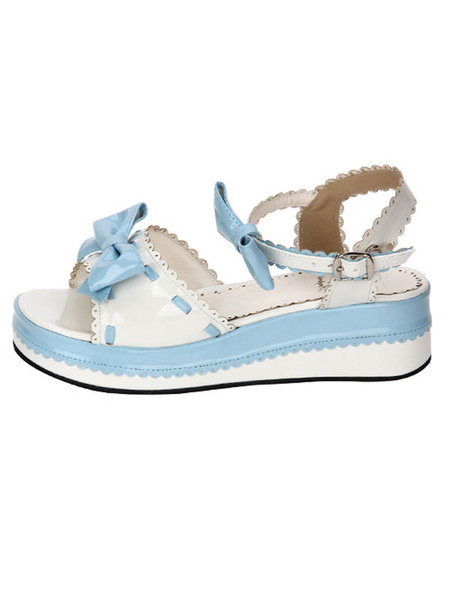 Milanoo Sweet Lolita Shoes Open Toe Wedge Heel Bows PU Flat Blue Lolita Sandals