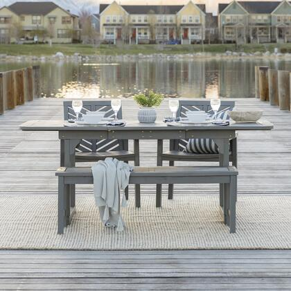 OW4TXVINGW 4-Piece Extendable Outdoor Patio Dining Set in Grey