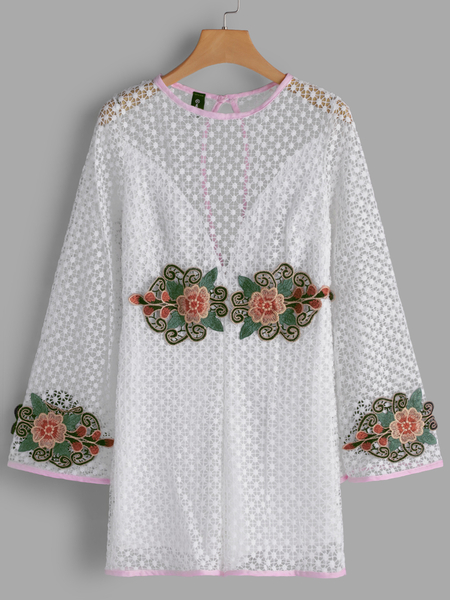 Yoins White Embroidered Hollow Design Playsuits with Lining