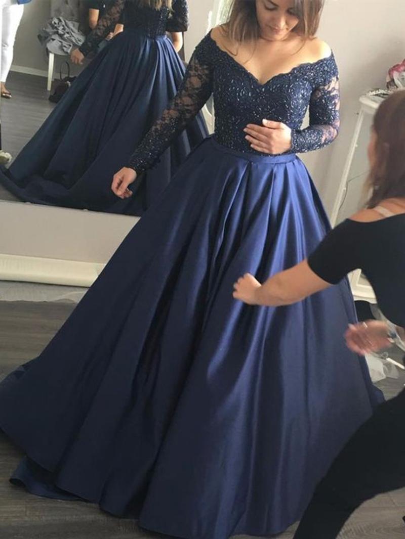 Ericdress Appliques Long Sleeve Prom Dress