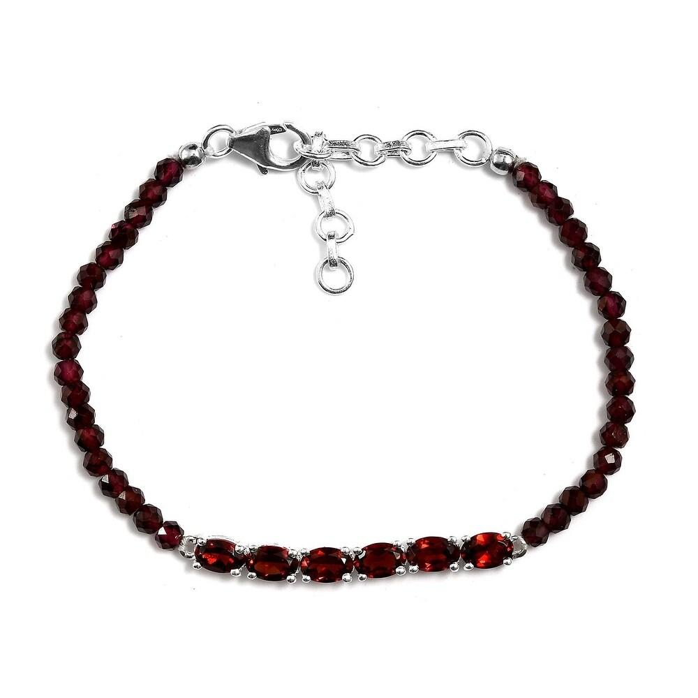 Sterling Silver Garnet Beaded Beads Bracelet Size 6.5 Inch Ct 13.25 - Bracelet 6.5'' (Red - Garnet - Red - White - Bracelet 6.5'')