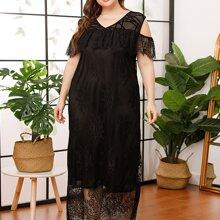 Plus Ruffle Trim Cold Shoulder Lace Night Dress