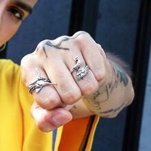 2 piezas anillo de hombres con diseño de animal