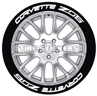 Tire Stickers CORVTTZ06-1718-125-8-B Permanent Raised Rubber Lettering 'Corvette Z06' Logo - 8 of each - 17