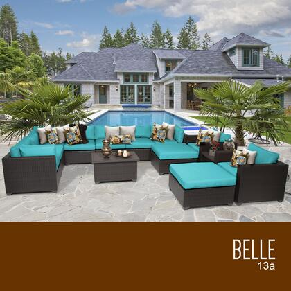 BELLE-13a-ARUBA Belle 13 Piece Outdoor Wicker Patio Furniture Set 13a with 2 Covers: Wheat and