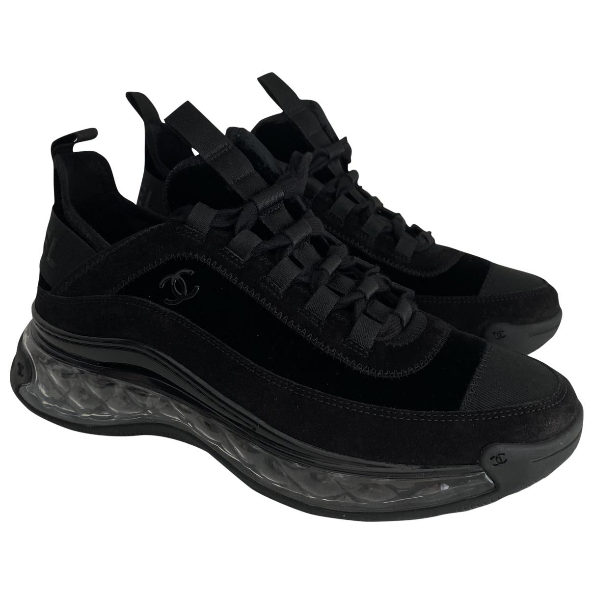 Chanel - Baskets   pour femme en velours - noir