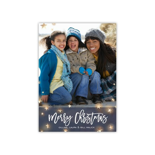 20 Pack of Gartner Studios® Personalized Star Filled Night Holiday Photo Card in Navy Blue | 5