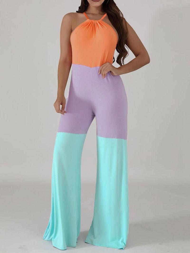 Ericdress Full Length Fashion Color Block Mid Waist Straight Jumpsuit