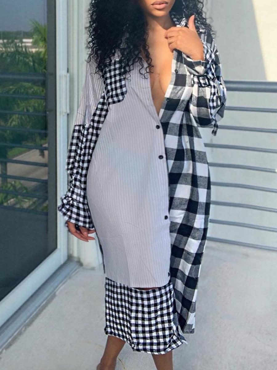 LW Lovely Stylish Turndown Collar Grid Print Patchwork Grey Mid Calf Plus Size Dress