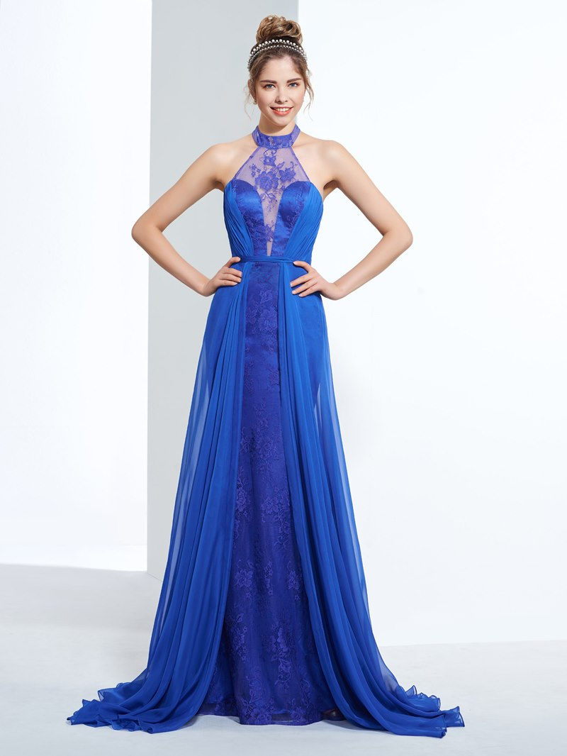 Ericdress Sheath Halter Lace Prom Dress with Train