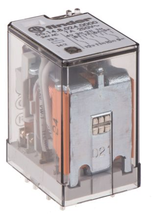 Finder , 24V ac Coil Non-Latching Relay 4PDT, 7A Switching Current PCB Mount, 4 Pole