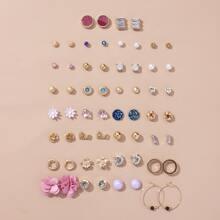30pairs Faux Pearl & Rhinestone Decor Earrings