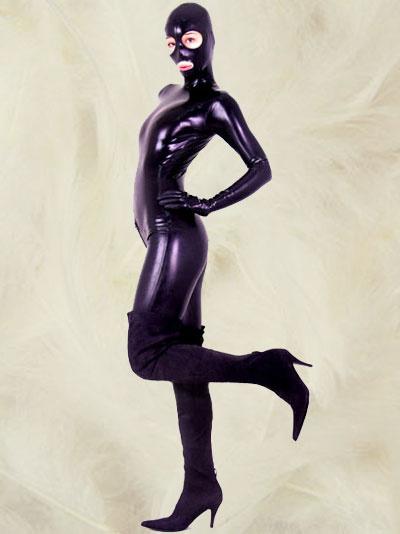 Milanoo Disfraz Halloween Catsuit de latex de cuerpo entero con los ojos abiertos y la boca Halloween