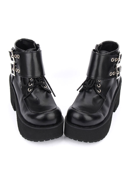 Milanoo Black Lolita Boots Chunky Heel Platform Lace Up Lolita Shoes