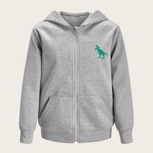 Jacke mit dreieckigem Saum und Dinosaurier Muster