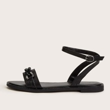 Chain Decor Ankle Strap Flat Sandals