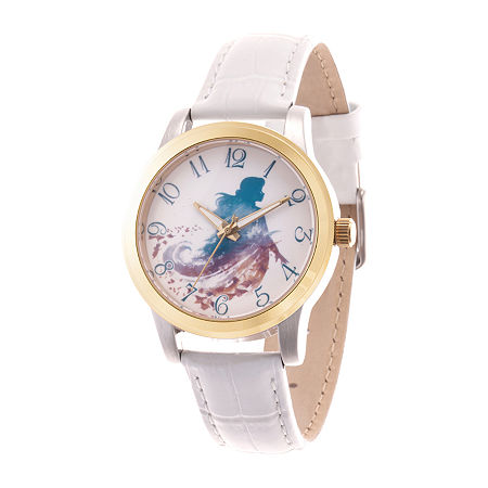 Disney Anna Womens White Leather Strap Watch-Wds000832, One Size , No Color Family