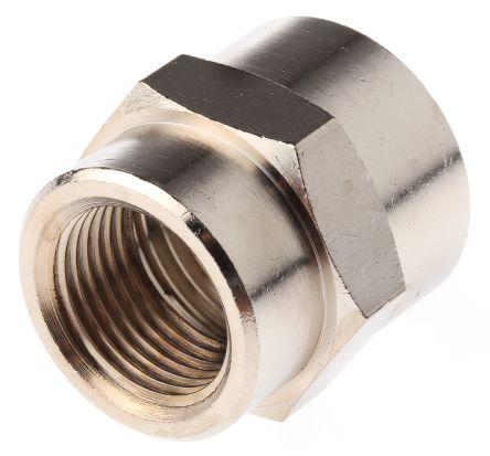 Legris LF3000 60 bar Brass Pneumatic Straight Threaded Adapter, G 3/8 Female To G 1/2 Female (5)