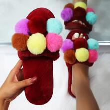 Pom Pom Decor Wide Fit Fluffy Slippers