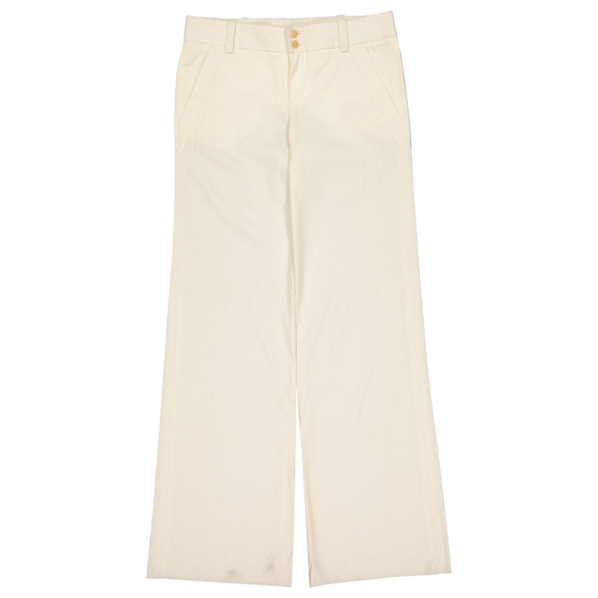 Chloé \N Ecru Wool Trousers for Women 40 FR