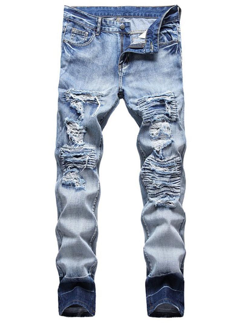 Ericdress Worn Straight Zipper Mid Waist Men's Slim Jeans