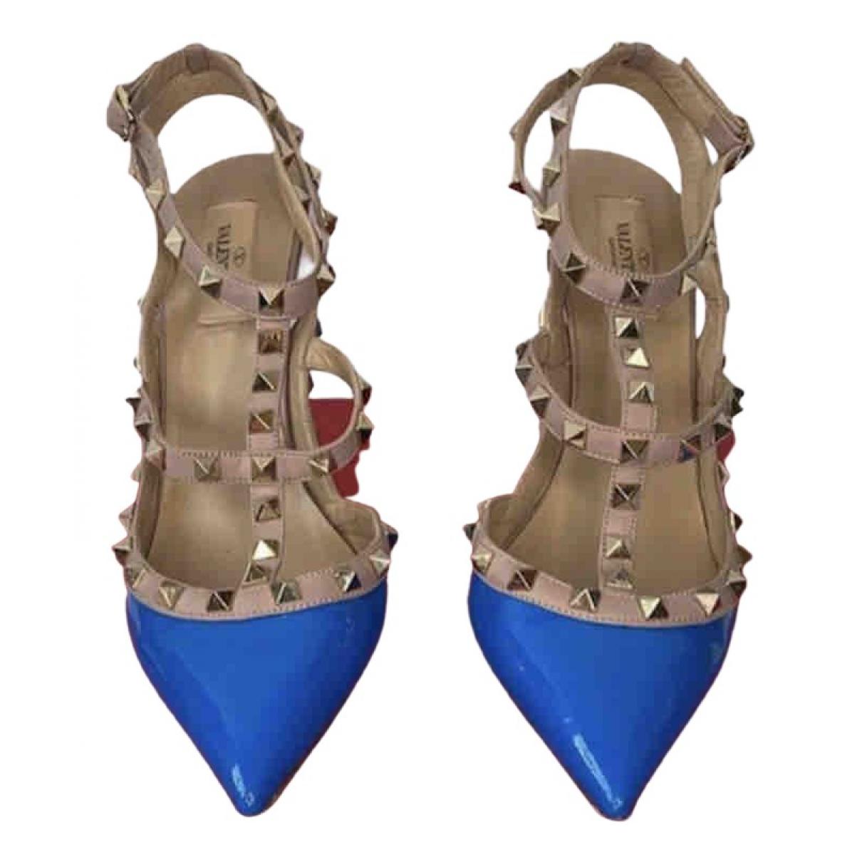 Valentino Garavani Rockstud Blue Patent leather Heels for Women 40 EU