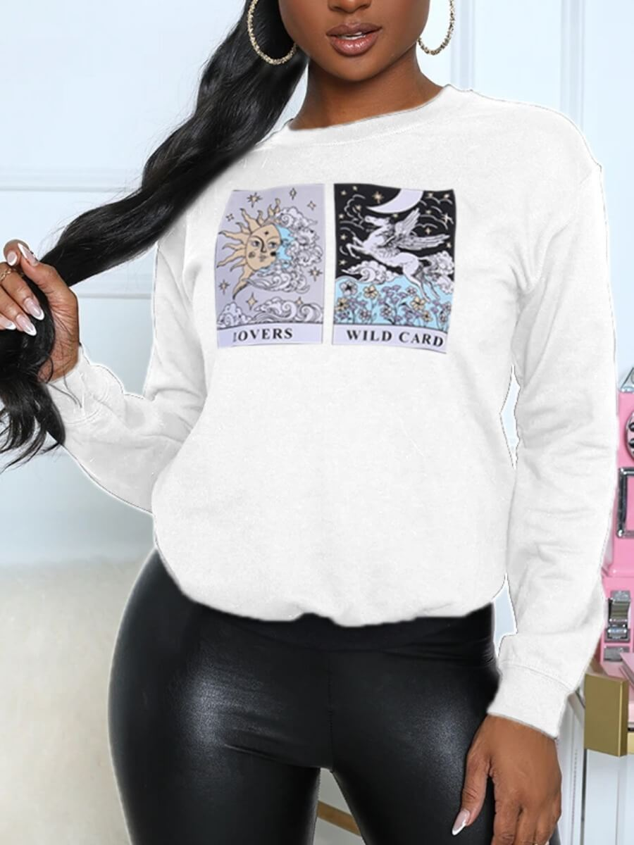 LW Lovely Casual O Neck Animation Print White Hoodie