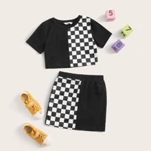 Conjunto de niñas camiseta panel de cuadros con falda