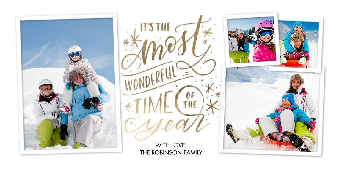 Christmas Photo Cards Flat Glossy Photo Paper Cards with Envelopes, 4x8, Card & Stationery -Christmas Script Most Wonderful Collage by Tumbalina