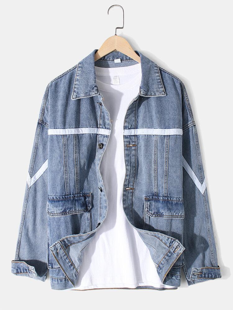 Mens Ribbon Stitching Loose Outdoor Stylish Cargo Denim Jackets With Flap Pocket