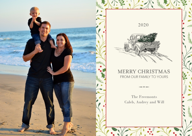 Christmas Photo Cards 5x7 Cards, Premium Cardstock 120lb with Elegant Corners, Card & Stationery -2020 Vintage Truck & Christmas Tree by Hallmark