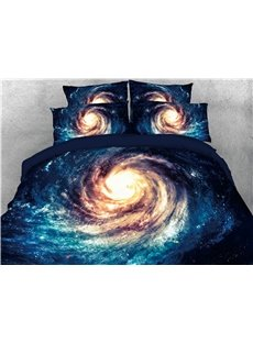 3D Spiral Galaxy Universe Printing Luxury 4-Piece Cotton Bedding Sets/Duvet Covers