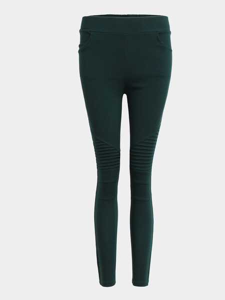 Yoins Green Side Pockets Bodycon Leggings