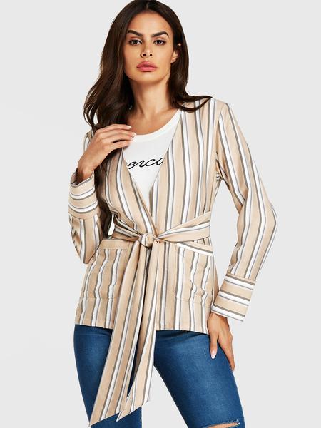YOINS Beige Stripe Belt Design Long Sleeves Blazer