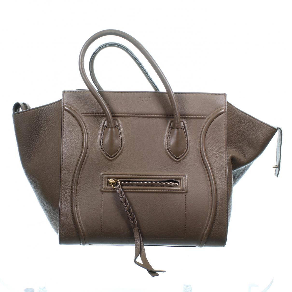 Celine Luggage Phantom Handtasche in  Khaki Leder