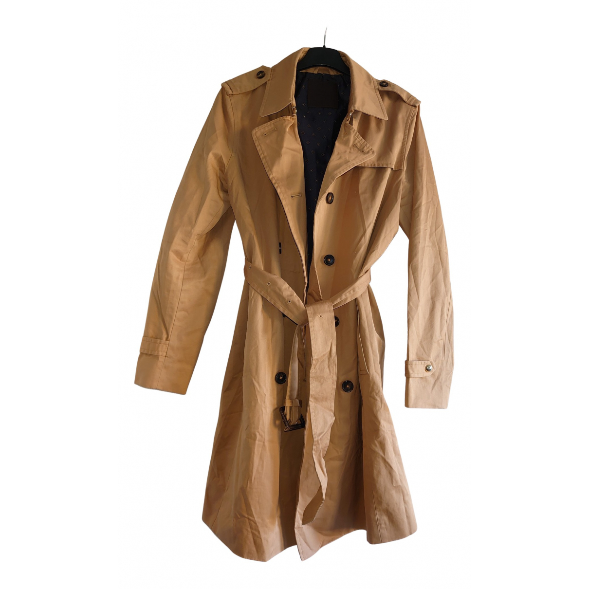 Massimo Dutti N Brown Cotton Trench coat for Women XL International