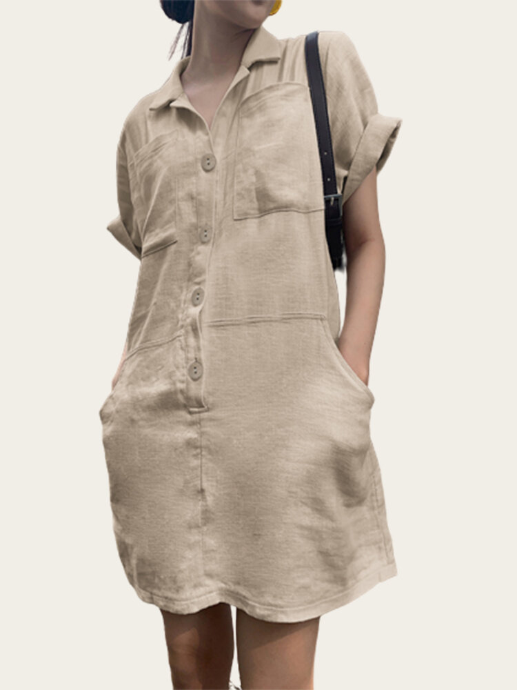 Causal Button Fly Rolled Sleeve Cargo Plus Size Dress