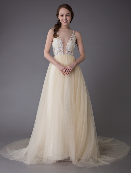 Milanoo Champagne Wedding Dresses Tulle Colored Bridal Dress Illusion A Line Prom Gowns