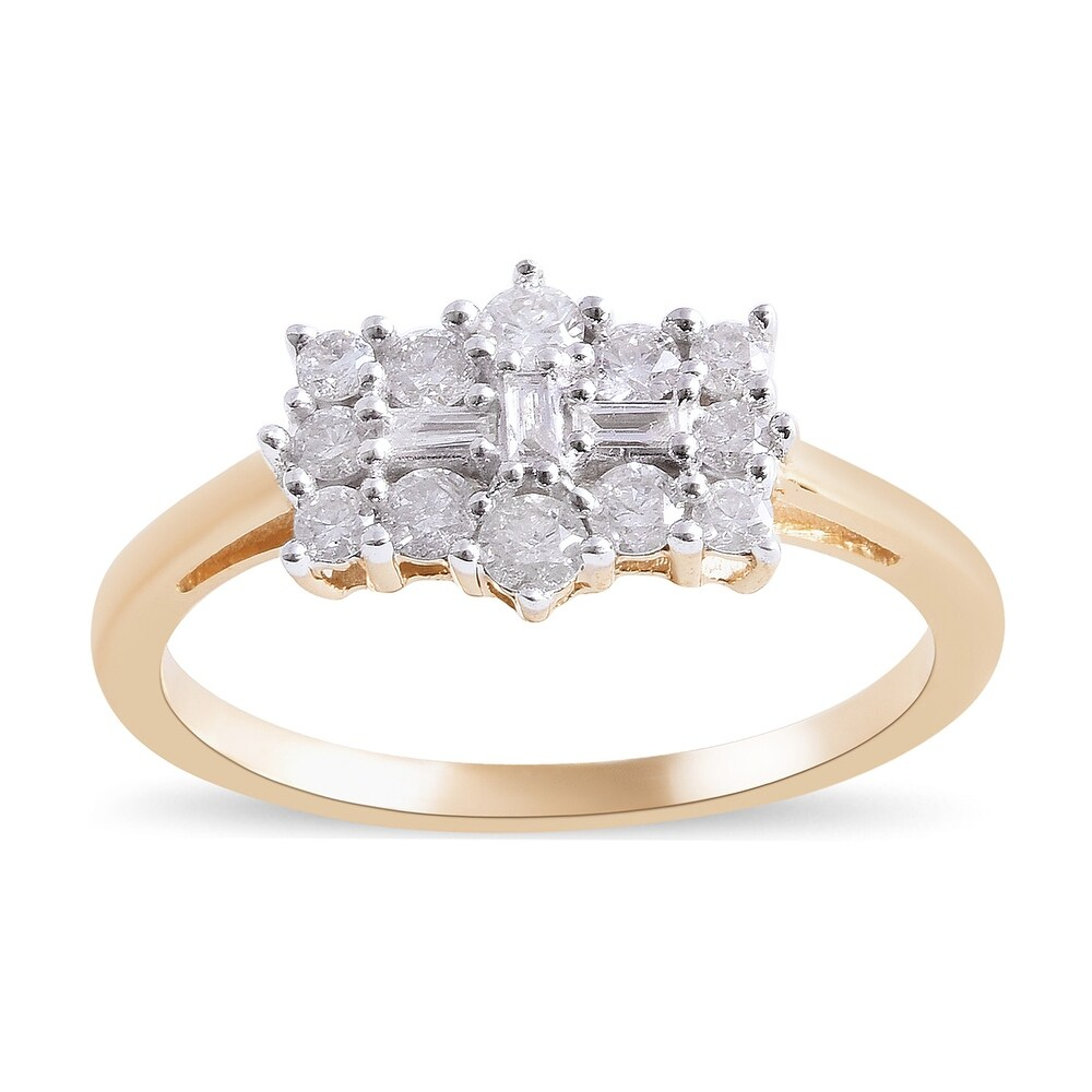 Yellow Gold Rhodium Plated Cluster Ring Ct 0.5 (Ring 5)