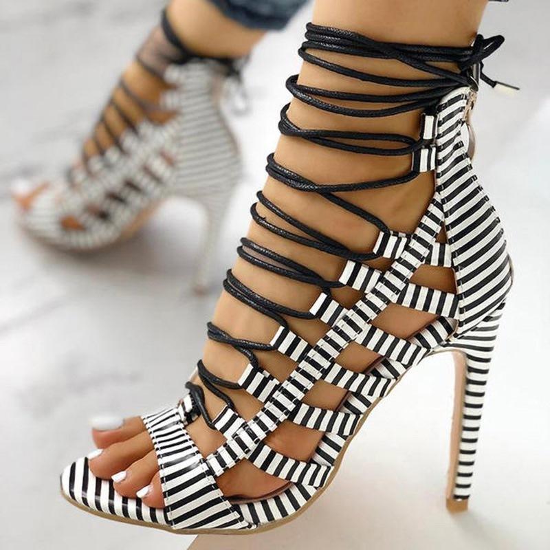 Ericdress Stiletto Heel Zipper Open Toe Casual Sandals