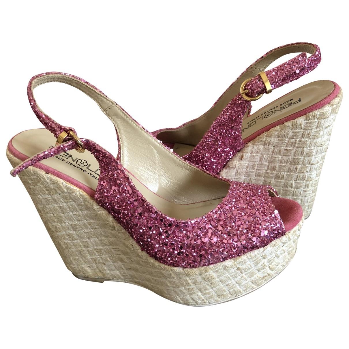 - Sandales   pour femme en a paillettes - rose