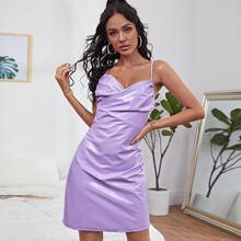 PU Leder Cami Kleid mit V Ausschnitt vorn und Ruesche
