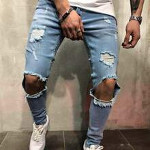 Men Ripped Cut Out Skinny Jeans