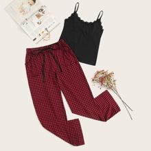 Cami mit Spitzen und Hosen PJ Set