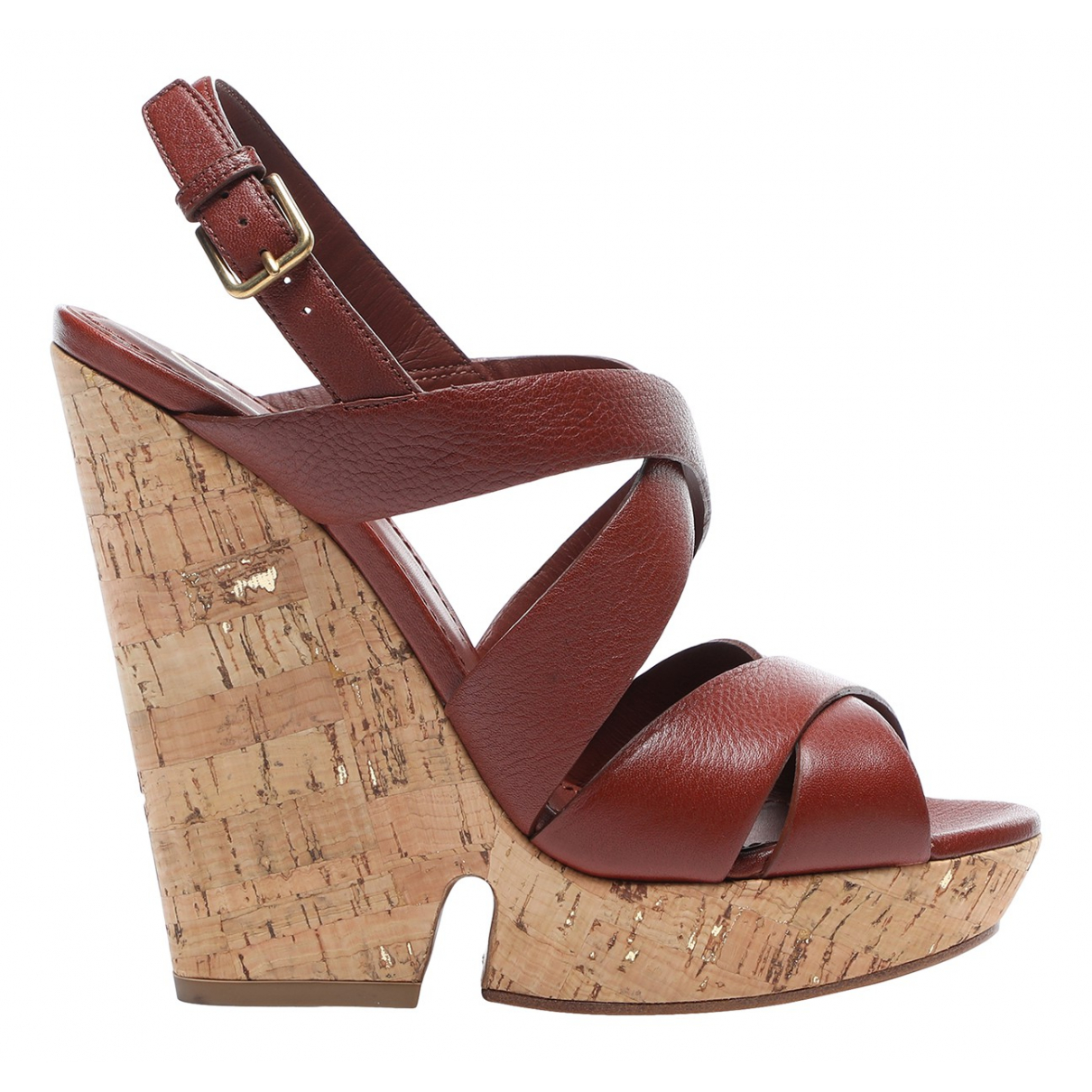 Yves Saint Laurent N Brown Leather Sandals for Women 38 EU